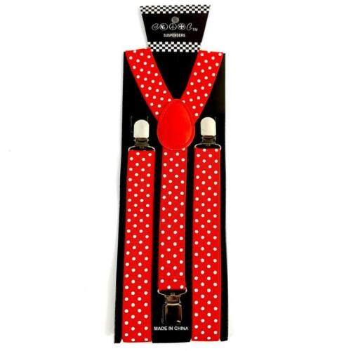 Red Bow Tie /& Suspender  w// White Polka Dots Good Quality Adjustable Combo Set