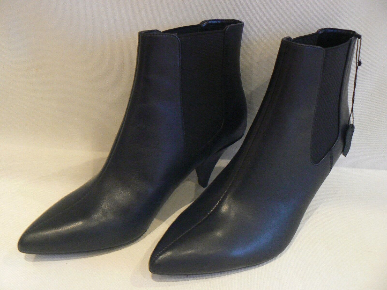 MARKS & SPENCER Black Leather Ankle Boots Kitten Heel Size 5 / 5.5 /6 /7 / 8 NEW