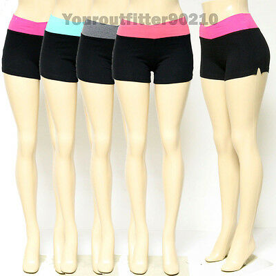 Womens YOGA Short Pants Fitness Gym Foldover Athletic Wristband 95% Cotton