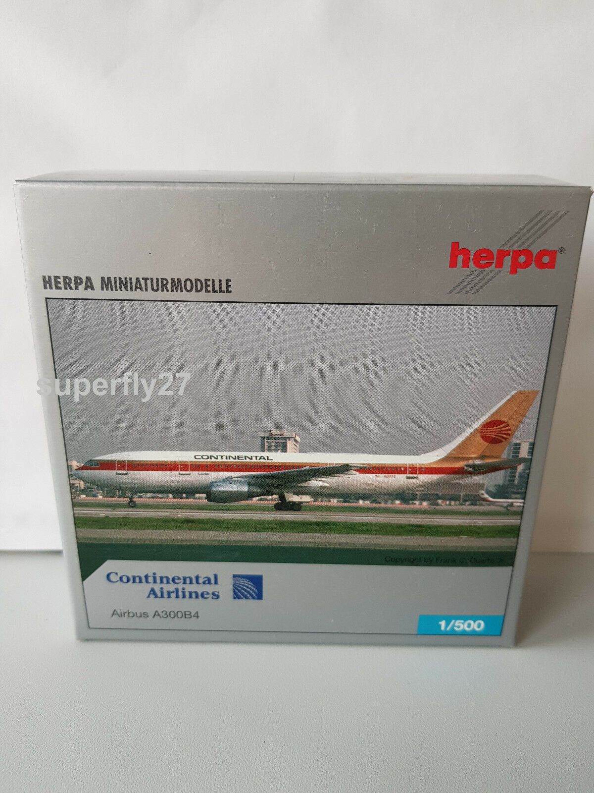 1 500 Herpa Wings 514378 Continental Airlines Airbus a300b4 Limited Edition NEUF