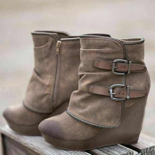 Womens Wedge Chelsea Chunky Cleated Platform Ankle Zip Buckle Boots Shoes Size