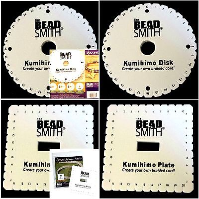 2PC 6inch Beadsmith Kumihimo Round & Square Braiding Plate + With Instructions
