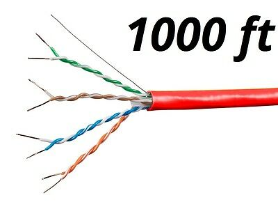 1000ft Blue Cat6a Bulk Ethernet Cable 650MHz UTP Solid Pure Bare Copper 23AWG