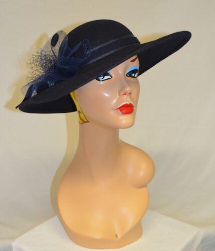 Fedoria Vintage Navy Blue 100% Wool Wide Brimmed H