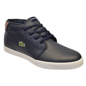 Lacoste-Men-039-s-Ampthill-LIN-Dark-Blue-Red-Leather