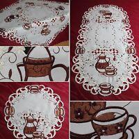 Kanne Tassen Weiß Tischläufer Mitteldecke Tisch Deckchen Tischdecke Größenwahl