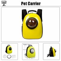 Breathable Pet Dog Cat Astronaut Backpack Transparent Travel Carrier Bag Yellow