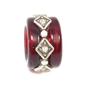 Authentic-Brighton-Soleil-Bead-J9276A-Silver-Red-Resin-New