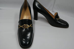 BRUNO-MAGLI-Navy-Pumps-Horsehead-Medallion-8-5-N-3-034-Heels-made-in-ITALY-New