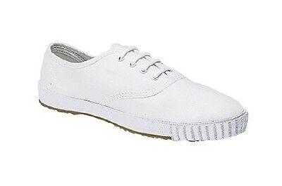 Dek Junior 4 Ojal Clásico Escuela Zapatillas De Tenis Blanco Blanco Lona