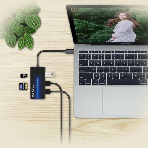 Type-C 3Ports USB3.0 Hub with SD//TF Ports Splitter Adapter/&LED Indicator