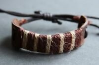 NEW Leather Hemp Surfer Men's Bracelet Wristband Cuff