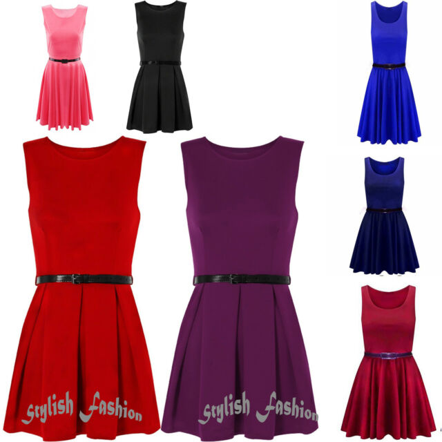 New Womens Ladies Belted Sleeveless Flared Franki Short Party Skater Dress Top