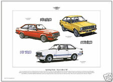 FORD ESCORT MK2 Fine Art Print - RS2000 RS Mexico RS1800 MkII models illustrated