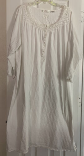 Eileen West Long Nightgown 3X  White , Long Sleeve