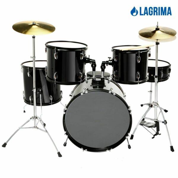5 piece complete adult drum black set cymbals full size kit wstool sticks for sale online ebay. Black Bedroom Furniture Sets. Home Design Ideas