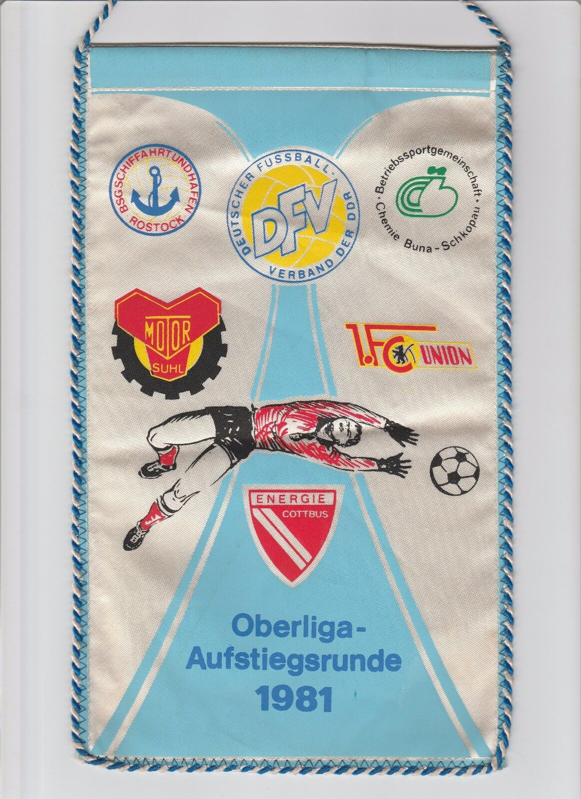 Orig.Wimpel   DDR Oberliga Aufstiegsrunde 1981 - UNION BERLIN MOTOR SUHL COTTBUS  | Zuverlässiger Ruf