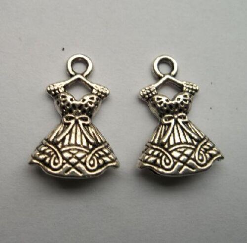 wholesale 20pcs alloy Tibetan silver skirt charms pendant 22x15 mm