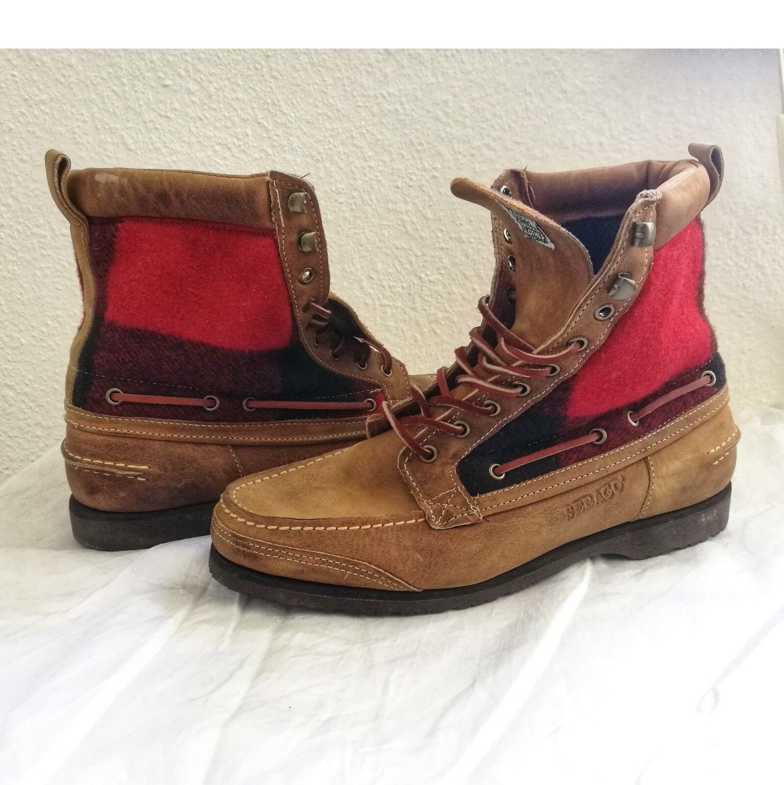 Sebago Boots Schuhe Braun, Rot aus echtem Leder & Stoff. EU 44