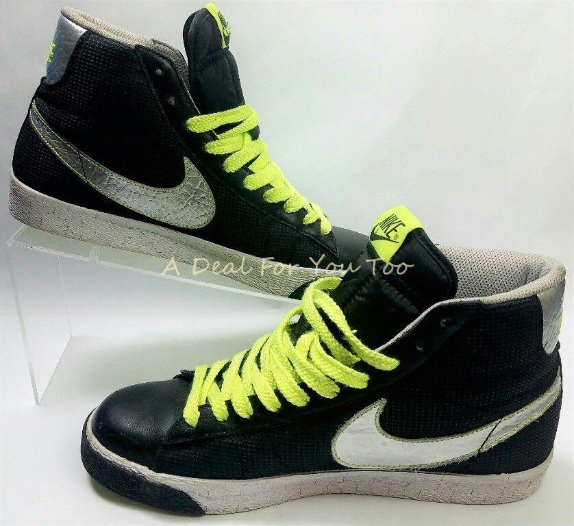 2018 Nike Blazer Hi QAM Negro hombres Plata Neon Verde zapatos hombres Negro nrmt 9 dfb7a2