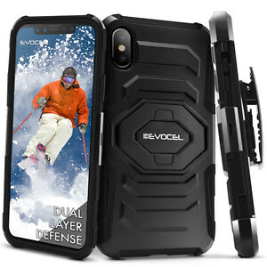 iPhone-X-amp-XS-Case-Evocel-Rugged-Dual-Layer-Holster-Case-w-Kickstand-amp-Clip