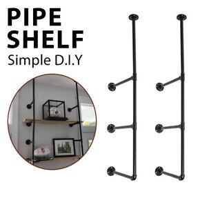 3-Tier-Wall-Shelf-Industrial-Iron-Pipe-Shelving-Mounted-Bookshelf-Bracket-US