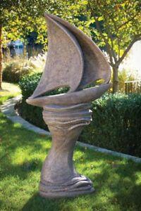 Image Is Loading Sail Away Nautical Sculpture Amp Pedestal Concrete Cast