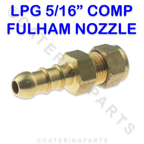 LPG FULHAM NOZZLE 8mm COMPRESSION X 10mm OD BRASS NIPPLE FOR 8mm BORE GAS PIPE