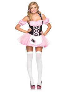 S-M-UK-8-10-Miss-Muffet-Gingham-Costume-Tutu-Dress-Pink-Leg-Avenue