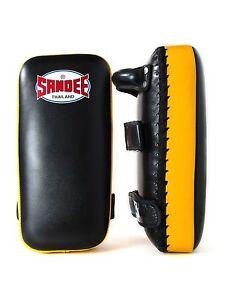 Sandee Extra Thick Flat Thai Kick Pads Black Yellow Leather Coach Kickboxing MMA