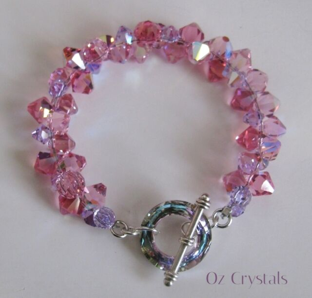 Vitrail Cosmic Ring Bracelet made with Swarovski Pink,Violet & Sterling Silver