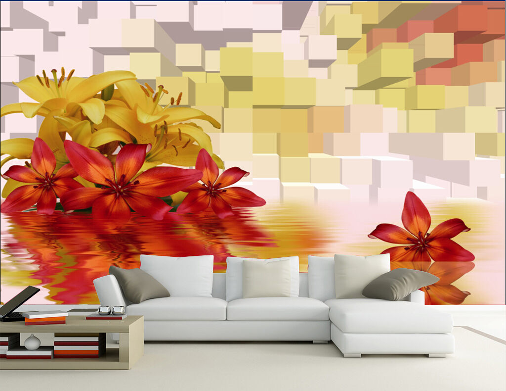 Huge 3D Orange Maple Leaf Wall Paper Wall Print Decal Wall Deco Indoor wall Home