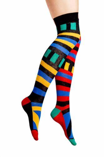 Signore//Donne Multi Colorato Scarpa Overknee Calzini Misura 4-8