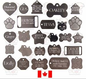 STAINLESS-DOG-CAT-PET-TAGS-CHARM-CUSTOM-ID-DIAMOND-ENGRAVED-BOTH-SIDES