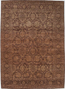9X12 Hand-Knotted Oushak Carpet Traditional Brown Fine Wool Area Rug D56387