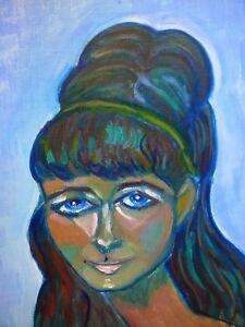Original-Oil-Painting-portrait-Lady-Woman-John-Cherrington-1960-039-s-60s-1970-039-s
