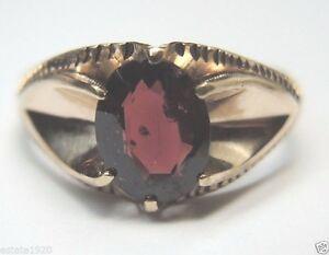 Antique-Vintage-Retro-Men-039-s-Oval-Garnet-14K-Rose-Gold-Ring-Size-8-5-UK-Q1-2