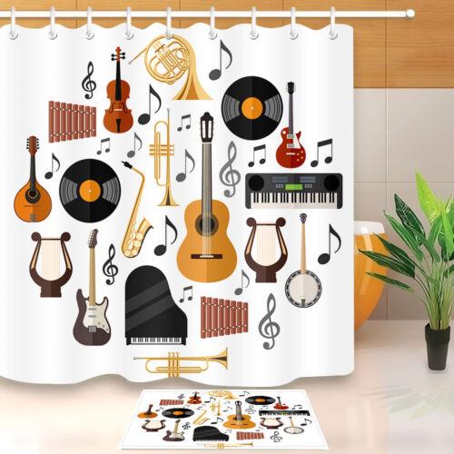 "Shower Curtain Musical Instruments Design Bathroom Mat Waterproof Fabric 72x72/"""