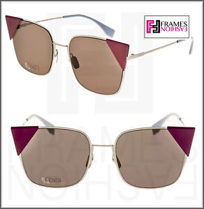 75193880363 FENDI LEI FF0191S Ruthenium Purple Mauve Cat Eye Metal Sunglasses ...