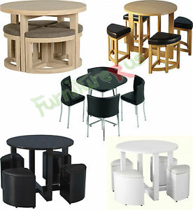 STOWAWAY Round Dining Table And 4 Stools Set in Oak, Pine, Ash, Pu ...