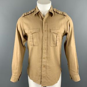 RALPH-LAUREN-Size-S-Khaki-Linen-Cotton-Button-Up-Long-Sleeve-Shirt