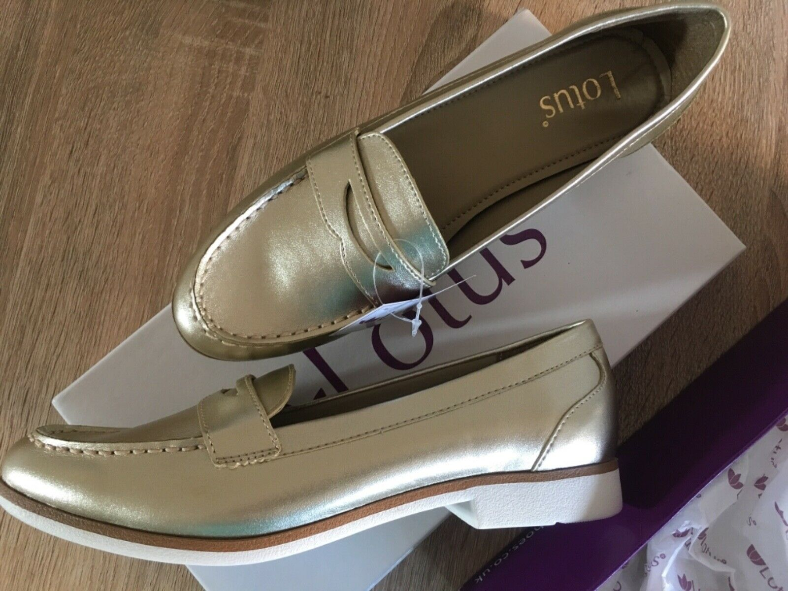 New in box Lotus gold ladies shoe size 5