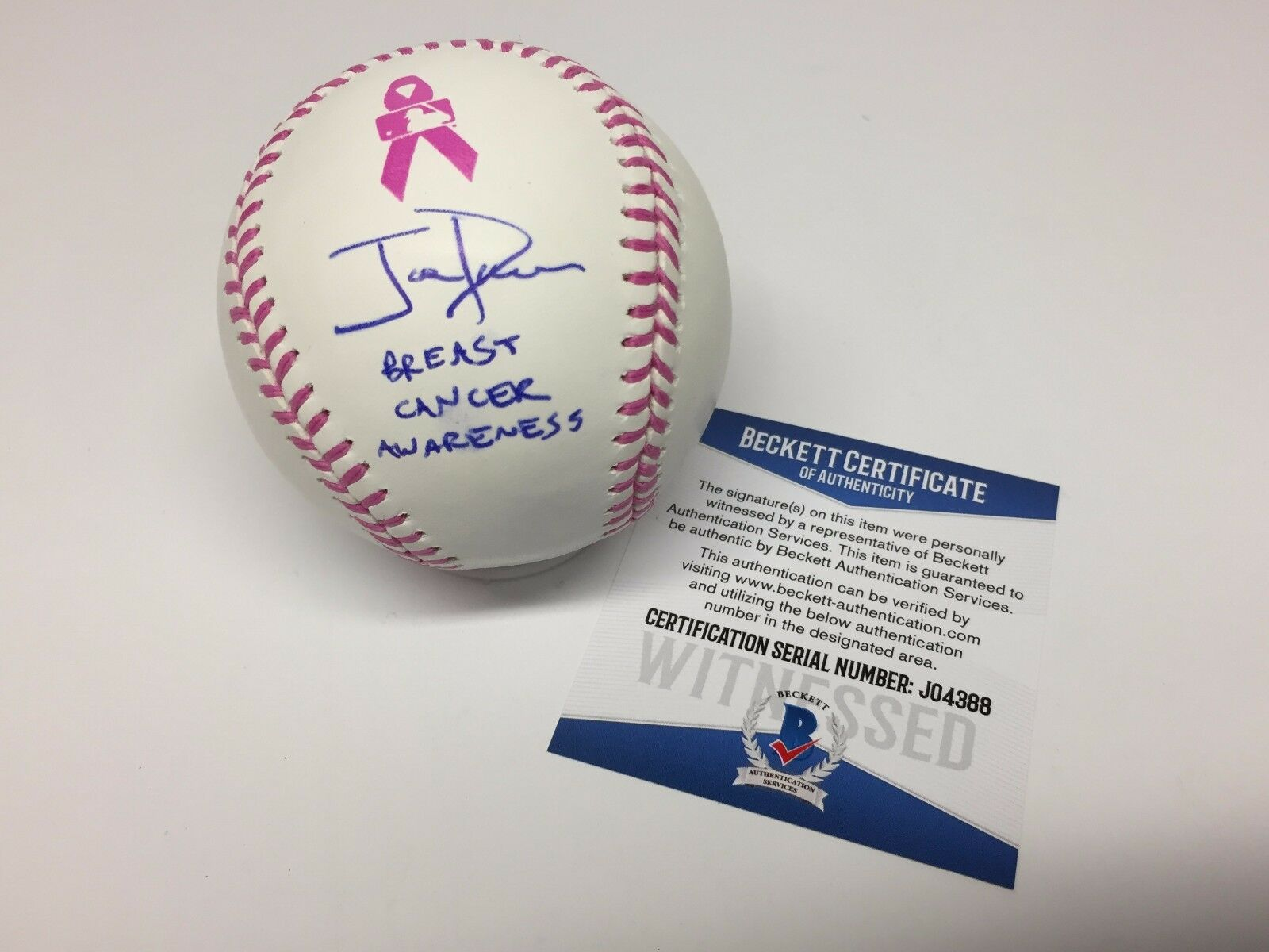 Joe Davis Signed Pink Breast Cancer Awareness/Mothers Day Baseball Beckett