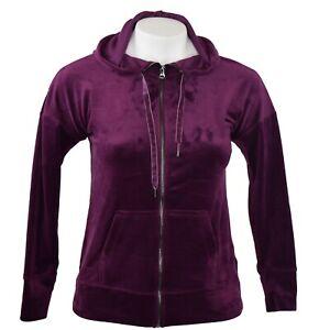 Ideology-Womens-Jacket-Velour-Zip-Hoodie-Drawstring-2-Pockets-Burgundy-Sz-2X-NWT