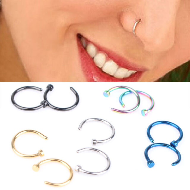 2pcs Hot Stainless Steel Nose Open Hoop Ring Earring Body Piercing Studs Jewelry