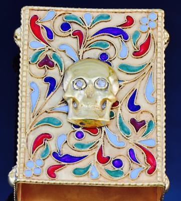 UNIQUE Imperial Russian silver,enamel&DIAMOND MEMENTO MORI SKULL Matchbox holder