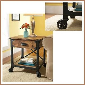 Details About Night Side Bed Coffee Table Drawer Wood Metal Industrial  Vintage Cart Furniture
