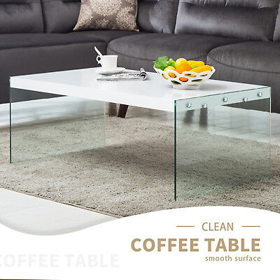Wood Surface +Glass Stand Coffee Table Modern Design Living Room Furniture  | eBay