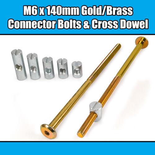 M6 x 140mm Gold Yellow Furniture Connector Bolts Cross Dowel Barrel Nuts Bed Cot