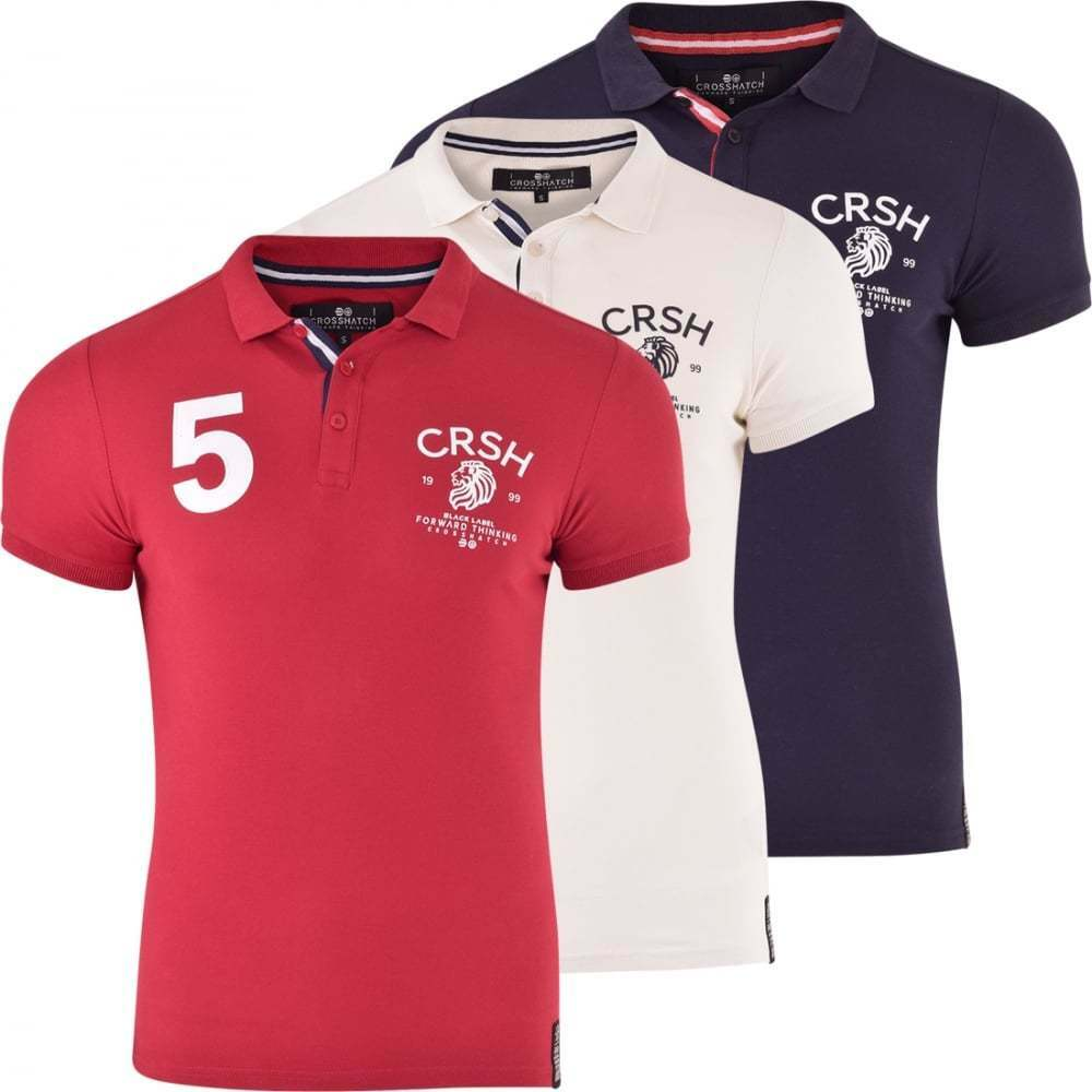 Mens Crosshatch Polo T-Shirt Pique Polo Cotton Collared Tshirt